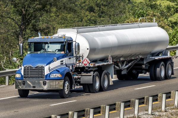 Truck transporting gas